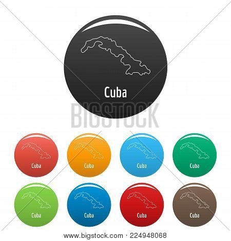 Cuba map thin line. Simple illustration of Cuba map vector isolated on white background