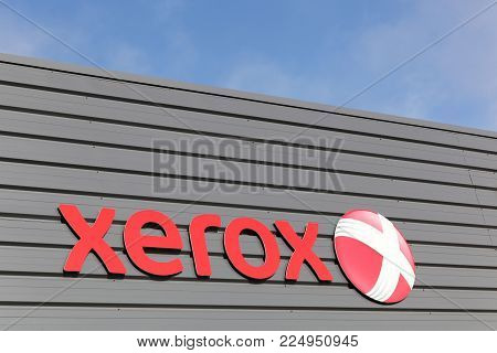 Dax, France - June 5, 2017: Xerox sign on a wall. Xerox is an American global corporation that sells business services and document technology products like office printers and scanner copiers