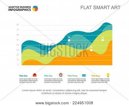 Four area charts. Business data. Growth, point, design. Creative concept for infographic, templates, presentation. Can be used for topics like marketing, production, research.