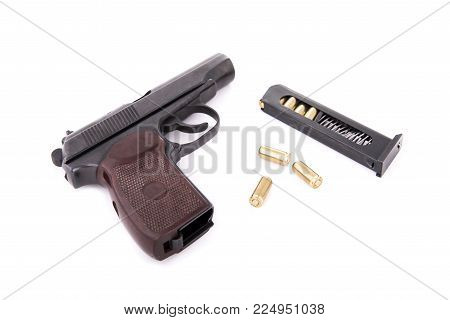 Pistol With Magazine And Cartridges On White Background, With Shadows, Traumatic Weapons For Self-de