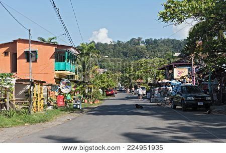PUERTO VIEJO DE TALAMANCA, COSTA RICA- APRIL 25, 2017: View of a street in Puerto Viejo de Talamanca, Costa Rica