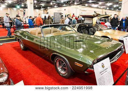PHILADELPHIA, PA - Feb 3: a 1970 Dodge Challenger at the 2018 Philadelphia Auto Show