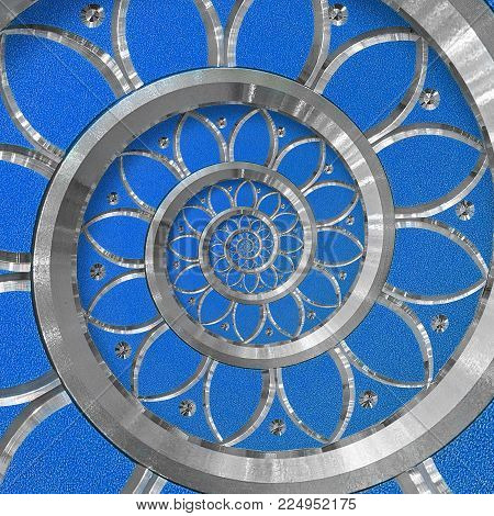 Blue surreal abstract round spiral background pattern fractal. Silver metal spiral blue decorative ornament element. Metal texture repetitive flower background spiral fractal. Distorted background pattern. Blue ornament pattern. Floral twirl spiral