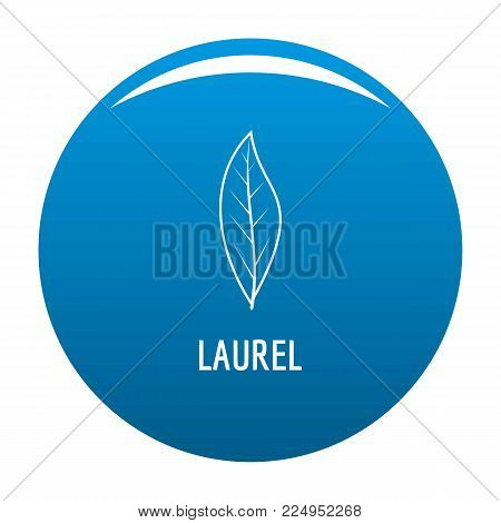 Laurel leaf icon vector blue circle isolated on white background