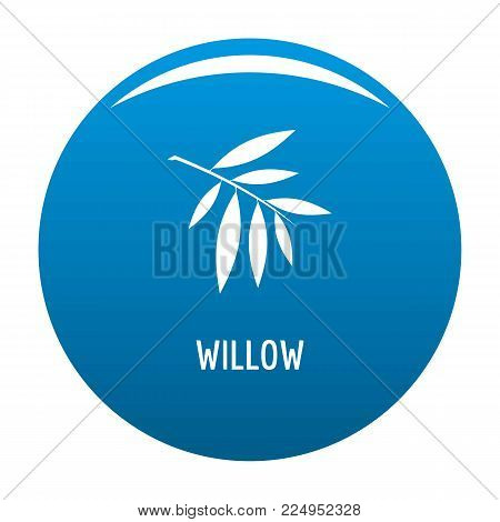 Willow leaf icon vector blue circle isolated on white background