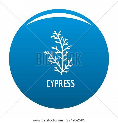 Cypress leaf icon vector blue circle isolated on white background