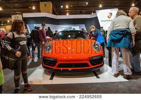 PHILADELPHIA, PA - Feb 3: a Porsche at the 2018 Philadelphia Auto Show