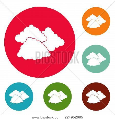 Dark cloudy icons circle set vector isolated on white background