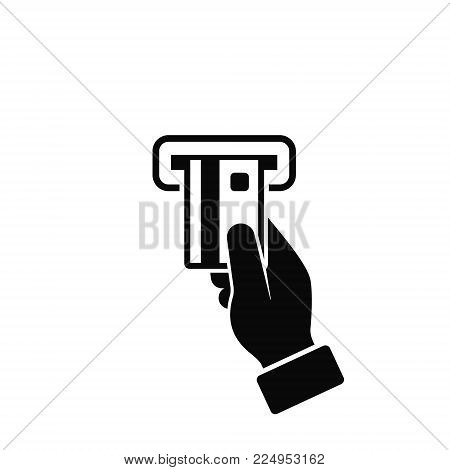 Hand Inserting ATM Card. Man Using ATM Machine Icon. Business and Finance Concept, Vector Illustration In Flat Style.