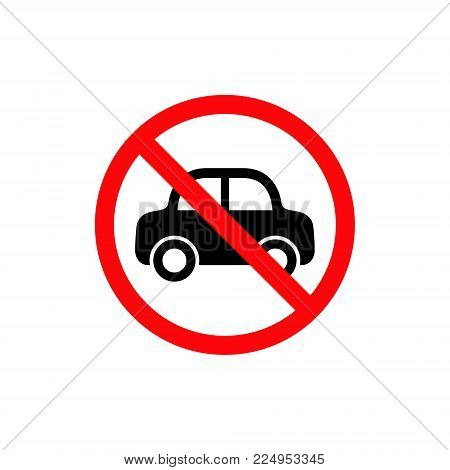 No Car Sign. Vector isolated no parking symbol.