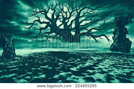 Big Withered Tree In A Clearing With Ruins. Natural Disaster And Post-apocalyptic Theme. Floating Cl
