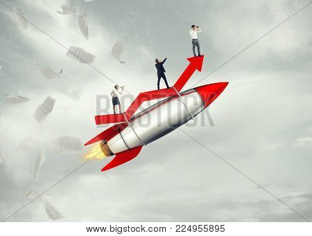 Business people take off on a rocket. 3D Rendering