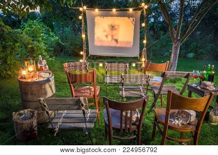 Summer Cinema With Old Analog Films In The Evening