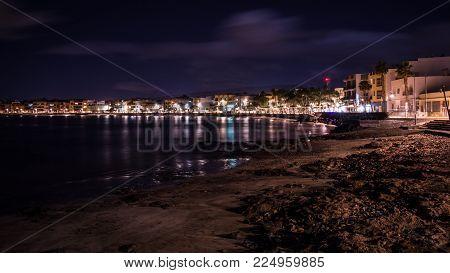 Foto nocturna de Playa de Arinaga, Gran Canaria