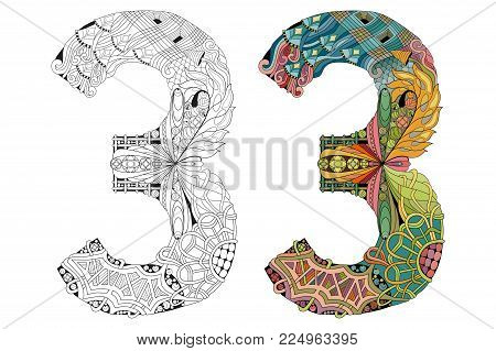 Hand-painted art design. Number three zentangle objects. Colored and outline set