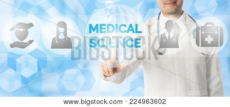 Doctor Points At Medical Science With Medical Icon