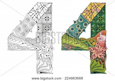 Hand-painted art design. Number four zentangle objects. Colored and outline set