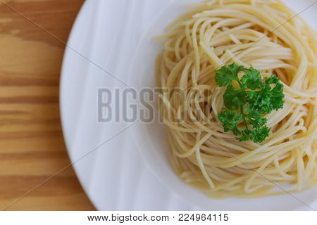 Boiled Spaghetti With Al Dente Level. Cooked Pasta With Al Dente Step Prepared For Cooking On White