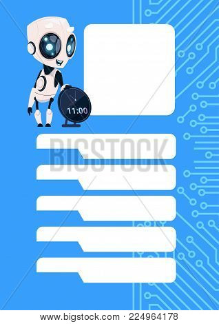 Robot Chatter Bot Modern Chatbot Service Over Circuit Background With Copy Space Flat Vector Illustration