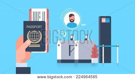 Business Hand Holding Passport And Tickets To Plane Over Check In Scanner At Airport Man During Registration For Departure Concept Flat Vector Illustration