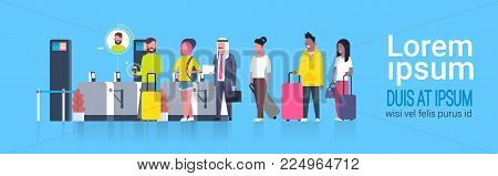Mix Race Group Of People Standing In Line Waiting For Checking In Airport Passing Through Security Scanner For Registration Flat Vector Illustration