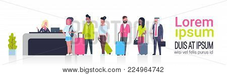 Group Of Mix Race Passengers Standing In Queue To Counter Check In Airport Template Banner With Copy Space, Departures Board Concept Flat Vector Illustration