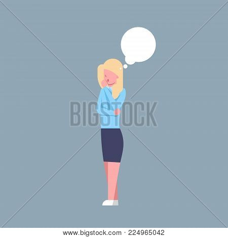 Business Woman Thinking Female Office Worker Ponder Businesswoman Corporate Isolated Flat Vector Illustration