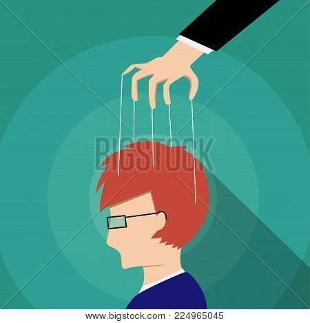 Businessman control adult's mind, vector art design