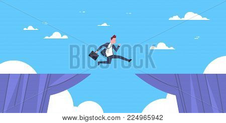 Brave Business Man Jump Over Cliff Gap Business To Success Risk And Danger Concept Flat Vector Illustration