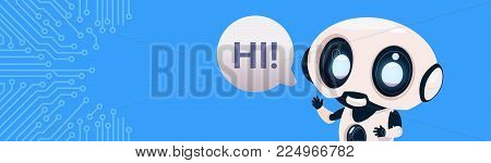 Robot Chatter Bot Say Hi Over Circuit Background With Copy Space Flat Vector Illustration