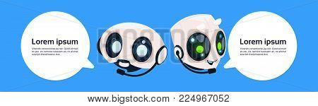 Robot Chatter Bot Or Chatbot On Blue Background With Copy Space Flat Vector Illustration