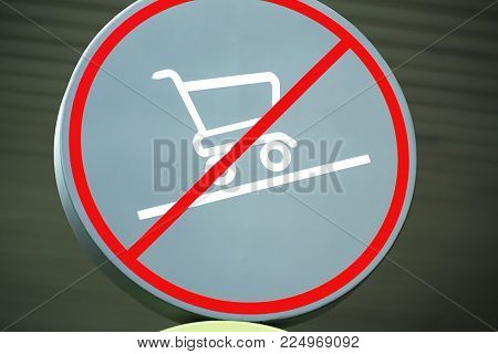 Circular Warning Sign Shopping Not Allowed on Inclined Floor
