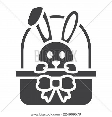 Easter bunny in basket glyph icon, easter and holiday, rabbit sign vector graphics, a solid pattern on a white background, eps 10.