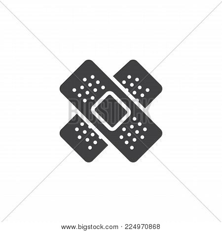 Medical plaster icon vector, filled flat sign, solid pictogram isolated on white. Adhesive tape bandage symbol, logo illustration.