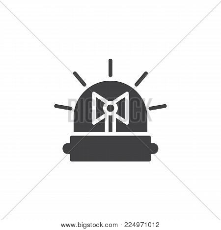 Emergency flasher icon vector, filled flat sign, solid pictogram isolated on white. Alarm siren symbol, logo illustration.