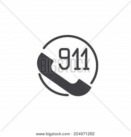 Handset with 911 icon vector, filled flat sign, solid pictogram isolated on white. Emergency number 911 call symbol, logo illustration.
