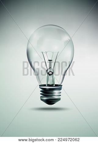 Light bulb idea illustration, realistic incandescent light bulb, burning bulb