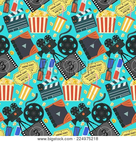 Nice flat vector cinema movie seamless pattern with colorful camera, clapper, tape bobbin, screen, tickets, popcorn, cup and glasses on blue background for textile, wrapping paper, wallpaper, surface