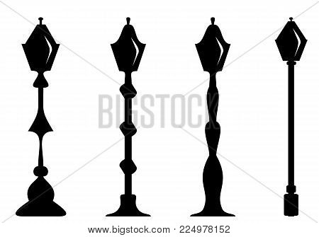 Set of thel amp post. Silhouette. Isolate on white. Vector illustration concept