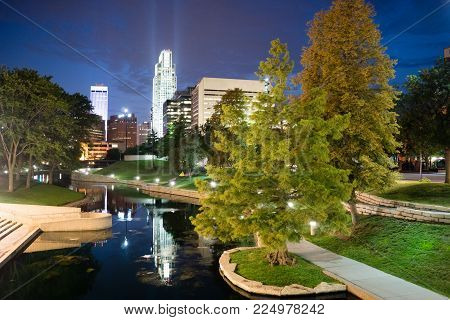 City features park waterfront downtown city skyline Omaha Nebraska
