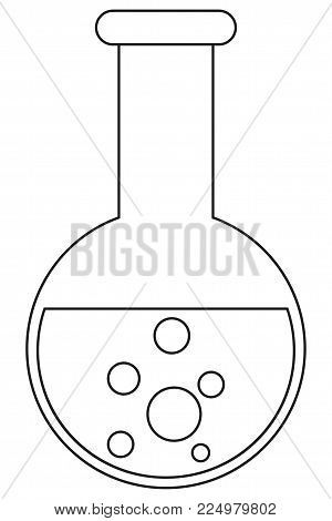 School college university line art icon poster science test tube. Coloring book page for adults and kids. Lineart illustration for gift card certificate banner sticker, badge sign, stamp, logo, label.