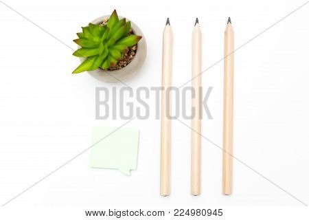 Stationery items on white background. Mininmalism desktop