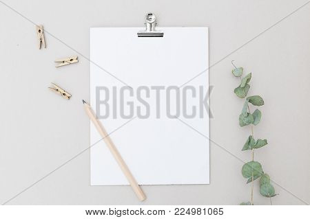 White sheet for writing and pencil on a gray background. Mock up
