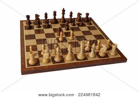 Photo of chess opening on white background. French Defence.