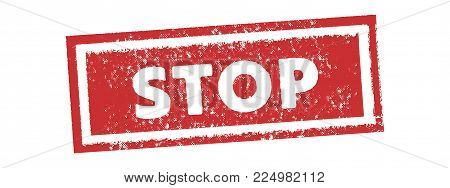 Stop Vintage Red Stamp Tag Banner Vector