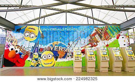 Osaka, Japan - FEB 03 : Universal studios Japan information sign is introduced on the JR Universal City Walk Station, Japan on FEB 03, 2018.