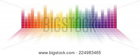 digital equalizer background with rainbow colored gradient