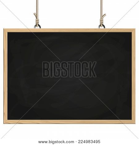 blank black board with wooden frame hanging on ropes