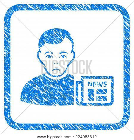 User News rubber seal stamp imitation. Icon vector symbol with grunge design and dirty texture in rounded rectangle. Scratched blue sign.
