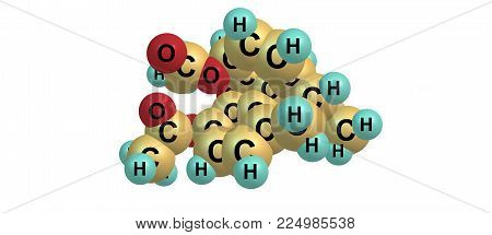 Molecular Structure Of Heroin On White Background